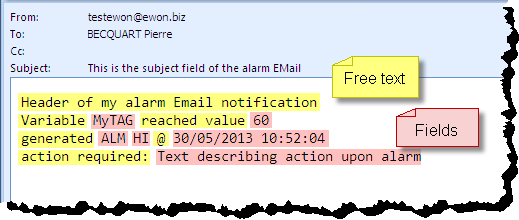 1 Purpose Alarm Email & SMS Templates You want to reduce the amount of information included in alarm email notifications such as the one shown in the example here?