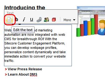The ECM opens the message in the Page Editor. 2.