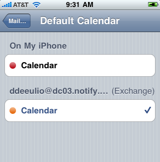 Calendar Set the Default Calendar If you have multiple Mail/PIM accounts on your device, you will need to set the Default Calendar. Set the Exchange ActiveSync account associated with your GO!