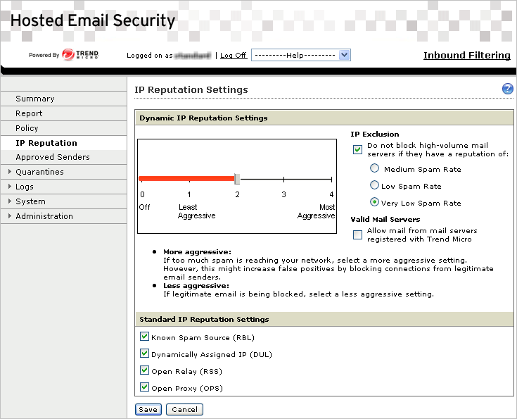 Trend Micro Hosted Email Security Administrator s Guide IP Reputation Settings Hosted Email Security can make use of the IP reputation features of Trend Micro Email Reputation Services (ERS), a