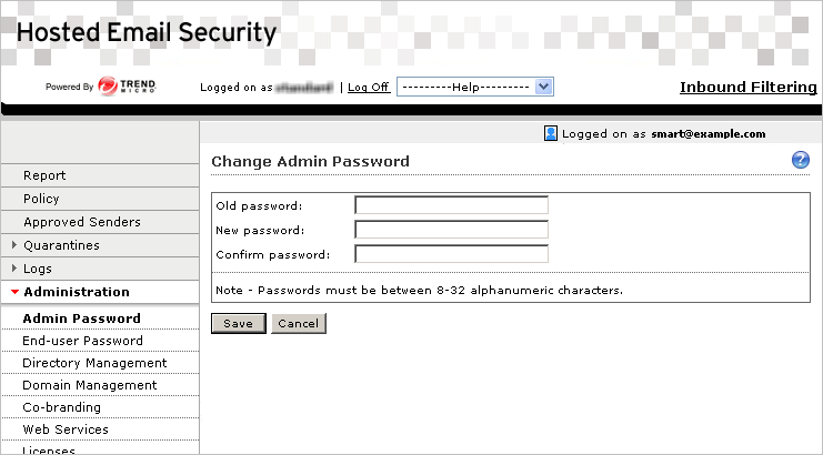 Administration and IP Reputation FIGURE 5-5. Change Admin Password screen Changing the Admin Password To change the admin password: 1.
