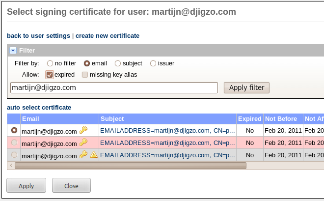 10.2 Signing certificate selection 10 CERTIFICATE SELECTION Figure 27: Select signing certificate nal end-user. For more information on the built-in CA functionality see section 13. 10.2 Signing certificate selection A signing certificate can be selected for a user, a domain or for the global settings.