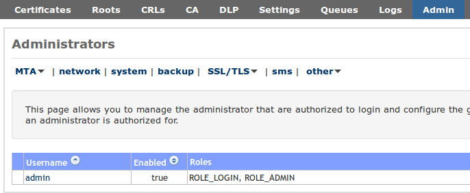 20.1 Roles 20 ADMINISTRATORS Figure 63: Logging Figure 64: Administrators 64). A new administrator can be added by clicking Add admin on the left-hand side menu.
