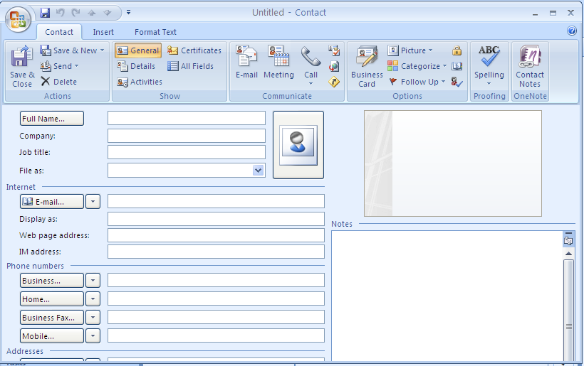 Create a contact from Scratch From Outlook s main Tool bar, select: File > New > Contact The Untitled - Contact dialog opens.