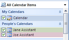 If Calendar is selected in the Open Other User's Folder window, the other user's calendar will open in your Outlook calendar area. If your calendar is also open, both will be displayed side by side.