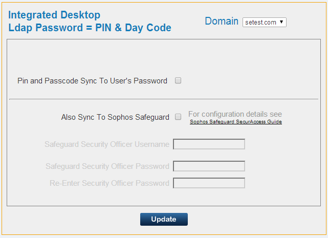 Direct Password Control Integrated Desktop is achieved by generating a new day code (or week code) for enabled users and sending it to the users registered mobile phone.
