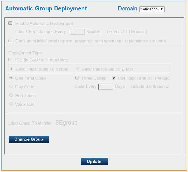 Automatic Group Deployment SecurEnvoy Security Server has the ability to provision users.