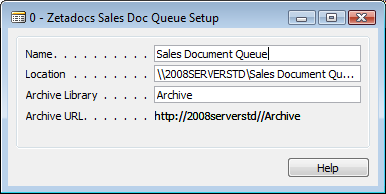 Configuring Zetadocs for NAV: Basic Configuration Figure 14 - Zetadocs Sales Doc Queue Setup Card Properties: Name: The name of the document queue.