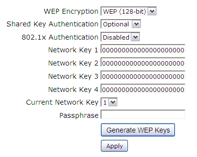 WEP Encryption: You can choose 64-bit or 128-bit according to your needs. If you choose Disabled, the Network Keys will not be shown on this page.