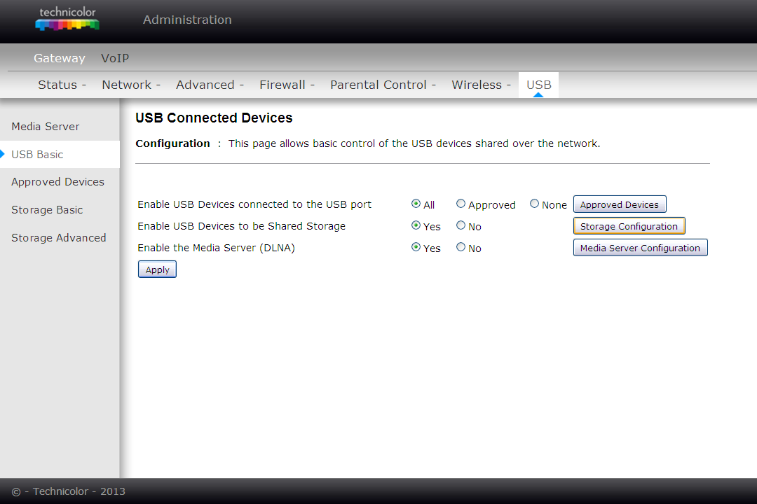 2. USB Basic settings This page allows basic control of the USB devices shared over the network.