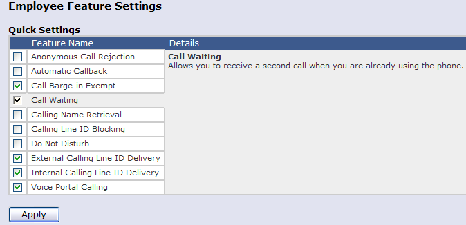 15 Call Waiting Description This feature enables a User to answer another incoming call while already engaged in an active call.