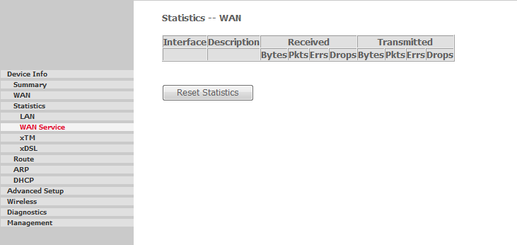 STATISTICS >> LAN Access the LAN statistics from the router by clicking on Statistics >> LAN. The Reset Statistics button, will reset statistic counters. FIGURE 3.
