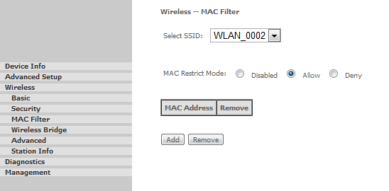 checking the Remove check-box and by clicking on the Remove button, the selected MAC address will be removed from the list. FIGURE 3.