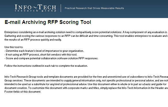 To get the most value out of the RFP process, use the RFP Scoring Tool A standard & transparent process for scoring individual vendor RFP responses will help ensure that internal team biases are
