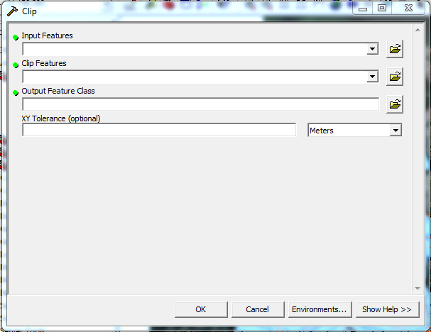 window prompt is shown below. Figure 4: ArcToolbox Clip Window Under Input Features, the layer to be clipped was selected.