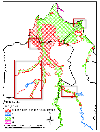 municipality has dense areas concentrated around the rivers. Guaynabo has one coastal area and the rest of the floodplain is a result of river runoff.