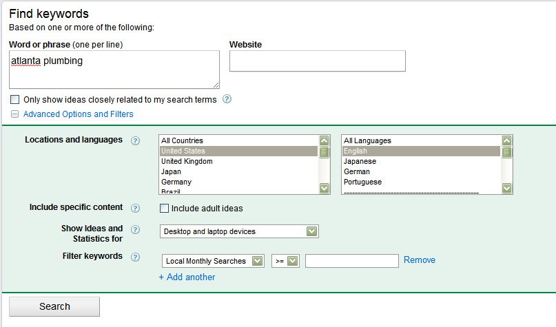 If you don t see Local Search Results go to Advanced Options & Filters and choose Local Results.
