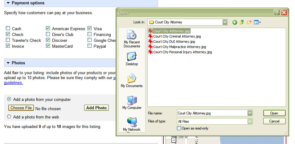 Payment Options & Images Select the types of payment the business accepts. Photos Upload 10 photos.