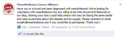 Mesothelioma.com s associated Facebook page, the Mesothelioma Cancer Alliance, has generated more than 40,000 fans.