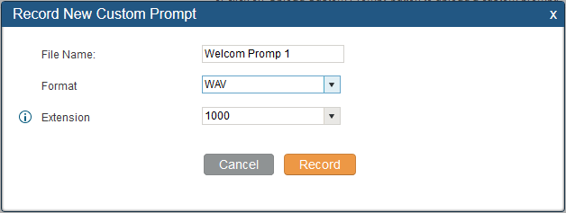 CREATE CUSTOM PROMPT To record new IVR prompt or upload IVR prompt to be used in IVR, click on Prompt next to the Welcome Prompt option and the users will be redirected to Custom Prompt page.