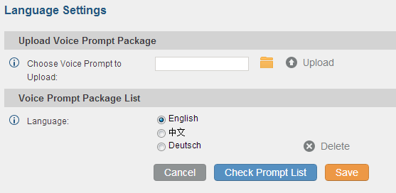 Figure 97: Voice Prompt Package List Click on to download the language to the UCM6100. The installation will be automatically started once the downloading is finished.