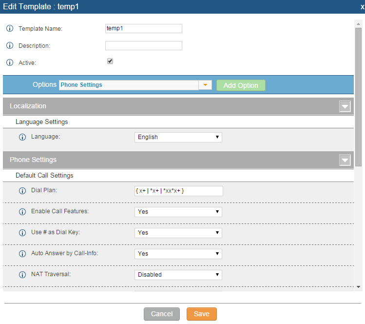 "Click on ""Create New Template"" to add a global template. Users will see the following configurations."