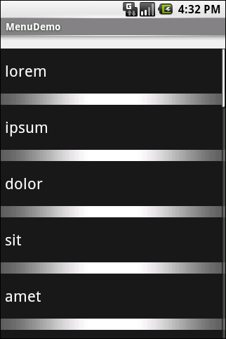 Applying Menus Choosing a height (say, 16 pixels) then changes the divider height of the list to something garish: Figure