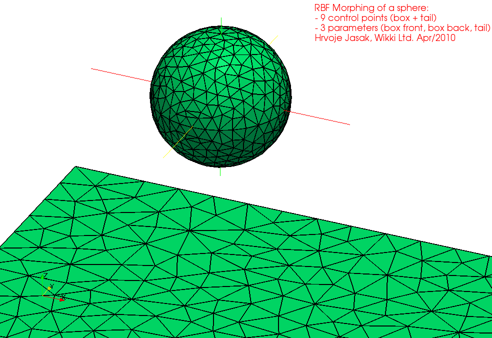 Radial Basis Function RBF Mesh Morphing: Cylinder and Sphere Examples Parametrisation uses a