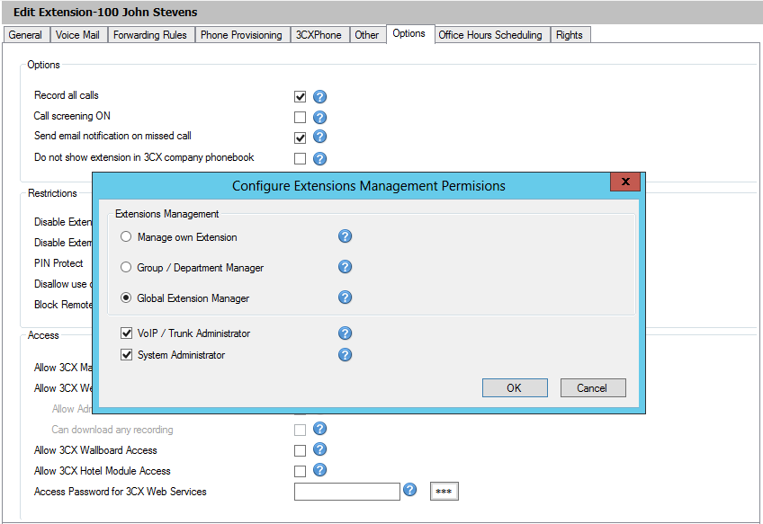 4. Check the Allow 3CX Management Console Access checkbox and then click on Configure Permissions to set the extension s access level to the Management Console. 5.