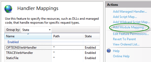 Figure 15: IIS Handler Mappings listing and related Actions 11. In the Actions list, click on the Add Module Mapping option to open the Add Module Mapping dialog. 12.