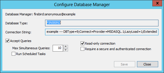 For the Connection String field you have two options: 1. Connect to an existing DBMS To connect to an existing database, specify the connection string to the database.