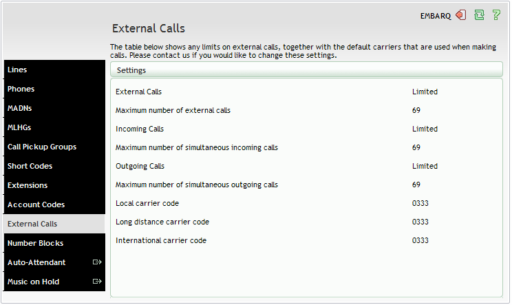 11. EXTERNAL CALLS The External Calls page lets you view the settings that are in place for calls that are external to your business.