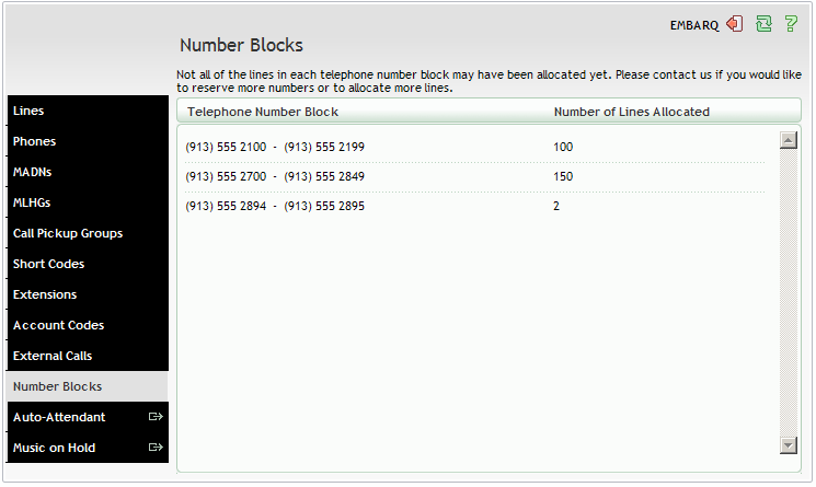 12. NUMBER BLOCKS The Number Blocks page shows you all of the telephone numbers which we have