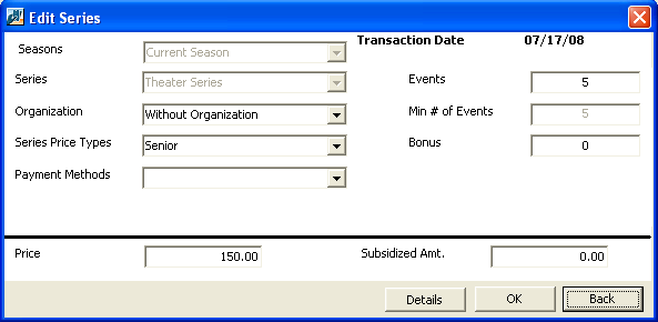 The Edit Series screen appears. 4. You can now edit the number of bonus events included, as well as change the series price type, subsidized amount, and organization.