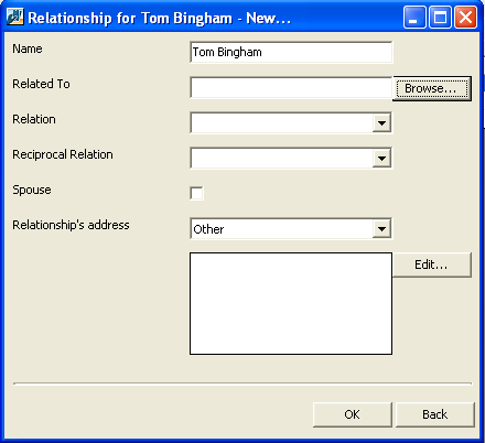 CLIENT RELATIONSHIP MANAGEMENT (CRM) 39 2. The Relationship for <record name> screen appears with the record name in the Name field.