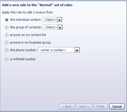 In order to define a new rule for Normal calls, select the click on the Normal call rule and click the Add New Rule button.