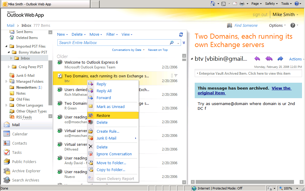 Outlook Web Access Symantec