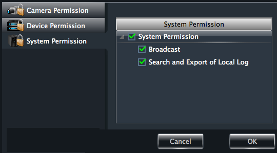 31 System Permission Click System Permission to enter the interface, you can set the right of broadcast, searching log information and exporting it for the user you selected.
