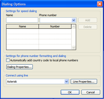 20. StarDialer for Outlook (contd) 12. Select Asterisk from the drop down in the Connect using line options. 13. Click OK to close the Dialing Options dialog box. 14.