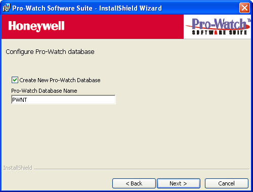 Complete Installation 12.Click Next to display the continuation of the Configure Pro-Watch Database screen where you can create a new database. Figure 8 Create New Database Screen 13.