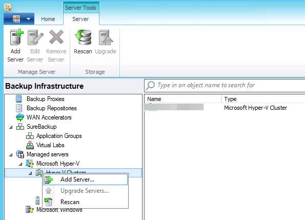 16 Configuration of the Hyper-V Cluster in VEEAM Backup & Replication We are adding our Hyper-V cluster to the VEEAM Backup