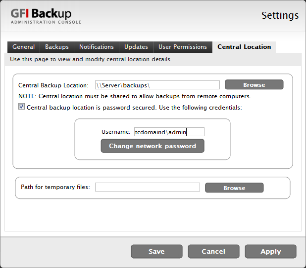 11.2.6 Central Location tab Use the Central Location tab to configure the default locations where GFI Backup will store backup data.