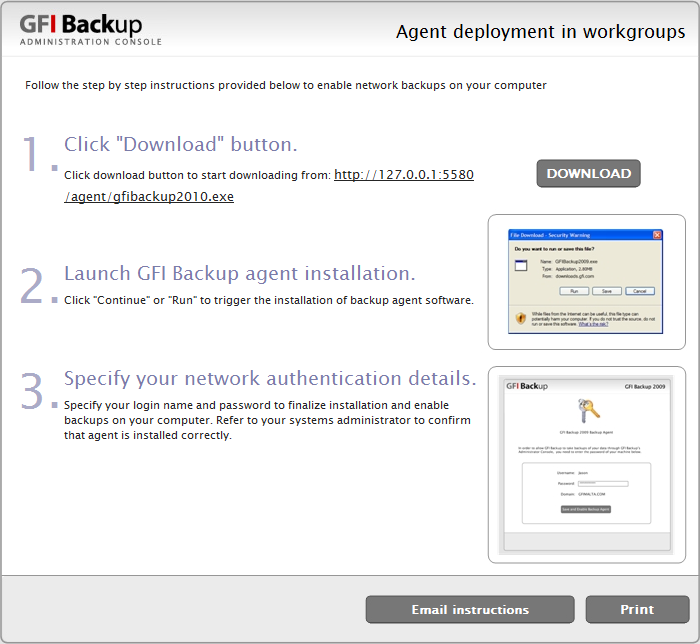 Screenshot 10: Agent deployment instructions with print and email option 4.