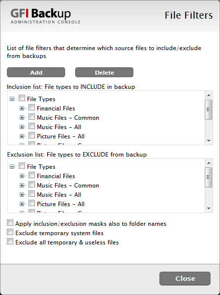 Screenshot 35 - File filters 3. From the file filters list select the file filters to include or exclude from the selected paths.