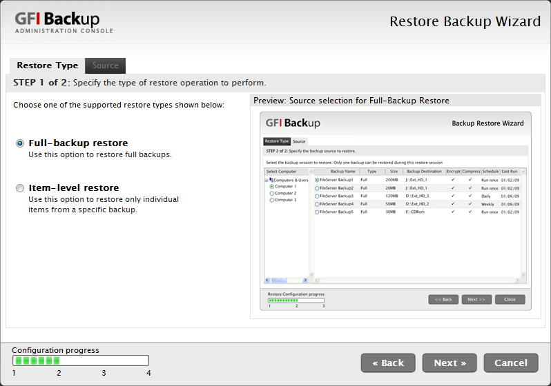 11. In the Summary of backup settings dialog review the new tape backup task being set up and click Finish to finalize new task setup.