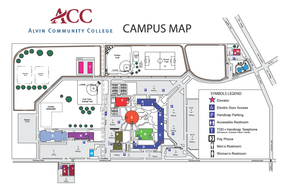 Alvin Community College Campus Map 3110 Mustang Road Alvin, Texas 77511 Main number: 281-756-3500 ADN Office: Room S-108 281-756-5630 nursing@alvincollege.