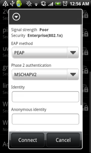 5. The next screen will ask you to select an EAP method and Phase 2 authentication. Make sure you select PEAP and MSCHAPV2. In the Identity field, enter NAU-STUDENTS\your NAU User ID.