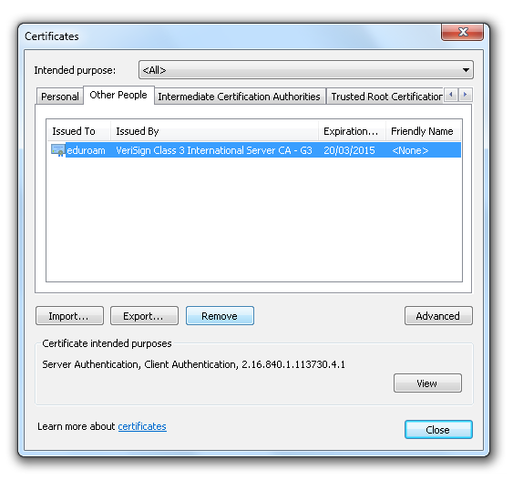 Picture 18 Other Authority Certificates list Picture 19 Select Eduroam
