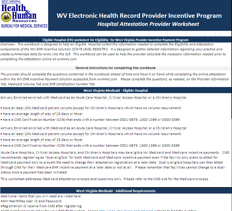 West Virginia Electronic Health Records (EHR) Provider Incentive ...