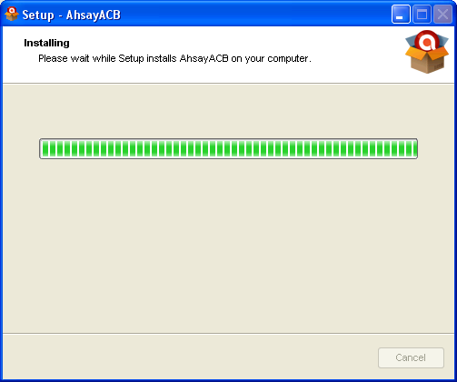 Installing Remote Backup (Ahsay) Software The installation will run for 1 to 5 minutes